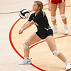 Logansport Berries' Kinzie Byrd (31) digs the ball during a game at the Berry Bowl in Logansport on Tuesday, Sept. 28, 2021.