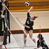 Logansport Berries' Katey Hall (23) goes for a kill during a game at the Berry Bowl in Logansport on Tuesday, Sept. 28, 2021.