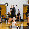 Pioneer Panthers defensive specialist Kaitlin Weldy (3) digs the ball during a game between the Pioneer Panthers and Lewis Cass Kings at Pioneer Jr./Sr High School in Royal Center on Saturday, Aug. 14, 2021.
