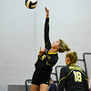 Pioneer Panthers setter Mackenzie Rogers (6) hits the ball during a game between the Pioneer Panthers and Lewis Cass Kings at Pioneer Jr./Sr High School in Royal Center on Saturday, Aug. 14, 2021.