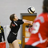 Logansport Berries' Halle Rennewanz (4) digs the ball during a game between the Pioneer Panthers and Logansport Berries at Pioneer Jr./Sr. High School in Royal Center on Tuesday, Aug. 31, 2021.