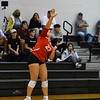 Logansport Berries' Katey Hall (23) serves during a game between the Pioneer Panthers and Logansport Berries at Pioneer Jr./Sr. High School in Royal Center on Tuesday, Aug. 31, 2021.