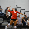 Logansport Berries' Chloe Kelly (34) serves during a game between the Pioneer Panthers and Logansport Berries at Pioneer Jr./Sr. High School in Royal Center on Tuesday, Aug. 31, 2021.