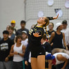 Pioneer Panthers setter Keirsten Nies (22) serves during a game between the Pioneer Panthers and Logansport Berries at Pioneer Jr./Sr. High School in Royal Center on Tuesday, Aug. 31, 2021.