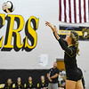 Pioneer Panthers middle blocker Brooklyn Borges (9) hits the ball during a game between the Pioneer Panthers and Logansport Berries at Pioneer Jr./Sr. High School in Royal Center on Tuesday, Aug. 31, 2021.