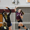Winamac Warriors outside hitter Hailey Attinger (4) goes for a kill during a game between the Winamac Warriors and Pioneer Panthers at Winamac Community High School on Thursday, Sept. 23, 2021.