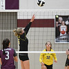 Pioneer Panthers setter Mackenzie Rogers (6) sets during a game between the Winamac Warriors and Pioneer Panthers at Winamac Community High School on Thursday, Sept. 23, 2021.