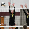 Pioneer Panthers setter Mackenzie Rogers (6) and middle blocker Kennedy Corn (27) go to block a kill from Winamac Warriors setter Kaya Campbell (18) during a game at Winamac Community High School on Thursday, Sept. 23, 2021.