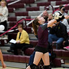 A Winamac Warriors player hits the ball during a game between the Winamac Warriors and Pioneer Panthers at Winamac Community High School on Thursday, Sept. 23, 2021.