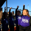 Zoey Sherrell cheers with her team at the conclusion of their game during opening day for the Kokomo Girls Softball League at the new Championship Park on Tuesday, April 13, 2021.<br /> Kelly Lafferty Gerber | Kokomo Tribune