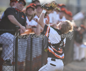 Raceland catcher, Chase Thornsberry make the catch for the out in foul territory against Boyd County on Tuesday at Raceland.  MARTY CONLEY/ FOR THE DAILY INDEPENDENT