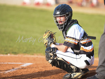 Raceland catcher, Chase Thornsberry looks at the dugout for a signal against Boyd County on Tuesday at Raceland.  MARTY CONLEY/ FOR THE DAILY INDEPENDENT