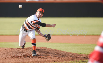 Raceland pitcher, Jacob Heighton releases a pitch against Boyd County on Tuesday evening at Raceland.  MARTY CONLEY/ FOR THE DAILY INDEPENDENT