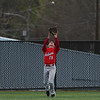 Twin Lakes Indians infielder Ean Bowsman (28) catches  fly ball during the fourth inning of a game between the Logansport Berries and Twin Lakes Indians on Saturday, April 10, 2021 in Logansport.