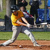 Pioneer Panthers infielder Daniel Reyes (1) hits a ball in the dirt during the second inning of a game between the Pioneer Panthers and Caston Comets on Thursday, April 29, 2021 in Fulton.
