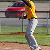 Pioneer Panthers infielder Hunter Klepinger (44) catches a ball during the first inning of a game between the Pioneer Panthers and Caston Comets on Thursday, April 29, 2021 in Fulton.