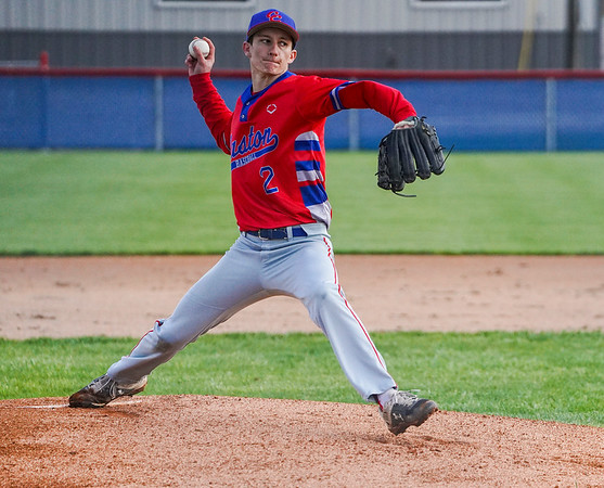 Caston Comets pitcher Joey Spin (2) throws the ball during the first inning of a game between the Pioneer Panthers and Caston Comets on Thursday, April 29, 2021 in Fulton.