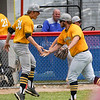 Pioneer Panthers' Eli Miller (34) high fives infielder Tyler Gaumer (58) during the second inning of the sectional championship between the Southwood Knights and Pioneer Panthers on Monday, May 31, 2021 in Fulton.