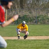 Pioneer Panthers infielder Tyler Gaumer (58) grabs a ground ball as a Tri-County Cavaliers player runs toward first during the second inning of a game between the Tri-County Cavaliers and Pioneer Panthers on Tuesday, April 6, 2021 in Royal Center.
