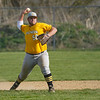 Pioneer Panthers infielder Tyler Gaumer (58) throws to first base during the second inning of a game between the Tri-County Cavaliers and Pioneer Panthers on Tuesday, April 6, 2021 in Royal Center.