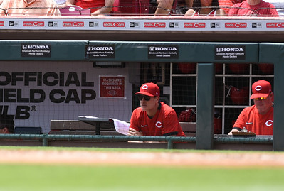 Cincinnati Reds skipper, David Bell looks on from the dugout against the Milwaukee Brewers on Sunday afternoon at Great Amercian Ballpark.  MARTY CONLEY/ FOR THE DAILY INDEPENDENT