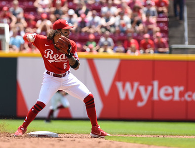 Cincinnati Reds Jonathan India throws to first for the double play against Milwaukee on Sunday afternoon at Great Amercian Ballpark.  MARTY CONLEY/ FOR THE DAILY INDEPENDENT