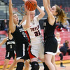 1-5-21<br /> Taylor vs Delphi girls basketball<br /> Taylor's Kelsi Langley looks to get around Delphi's defense.<br /> Kelly Lafferty Gerber | Kokomo Tribune