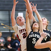 1-5-21<br /> Taylor vs Delphi girls basketball<br /> Taylor's Kelsi Langley looks to pull down the rebound.<br /> Kelly Lafferty Gerber | Kokomo Tribune