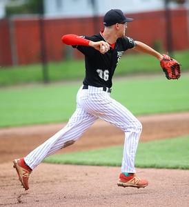 7-17-21 Kokomo Post 6 baseball Dailan Reece throws to first for an out. Kelly Lafferty Gerber | Kokomo Tribune