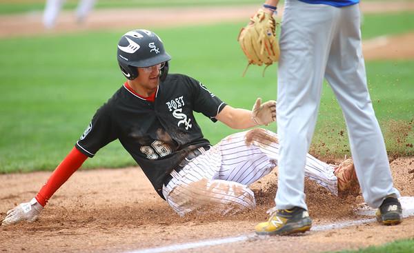 7-17-21 Kokomo Post 6 baseball Dailan Reece is safe as he slides to third. Kelly Lafferty Gerber | Kokomo Tribune