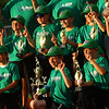 Russiaville's All-Seasons Contracting takes photos witn the trophy after defeating Greentown's Bill's Lawn Care 12-2 for the Rookie Tournament Championship at Championship Park on Wednesday, June 9, 2021.<br /> Kelly Lafferty Gerber | Kokomo Tribune