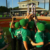 Russiaville's All-Seasons Contracting hoists the trophy after defeating Greentown's Bill's Lawn Care 12-2 for the Rookie Tournament Championship at Championship Park on Wednesday, June 9, 2021.<br /> Kelly Lafferty Gerber | Kokomo Tribune