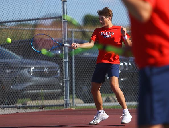 9-1-21<br /> Western vs Cass boys tennis<br /> Cass 1 doubles Jensen Burrous returns a shot.<br /> Kelly Lafferty Gerber | Kokomo Tribune