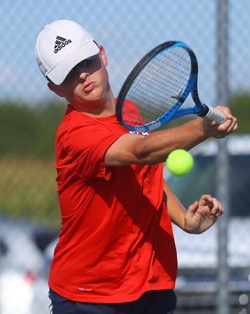 9-1-21<br /> Western vs Cass boys tennis<br /> Cass 1 singles Jack Salyers<br /> Kelly Lafferty Gerber   Kokomo Tribune