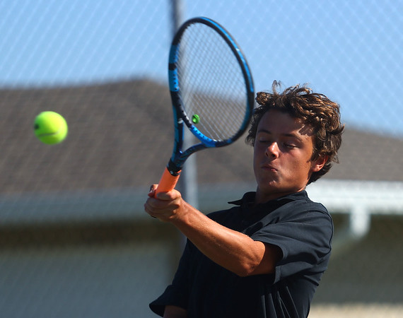 9-1-21<br /> Western vs Cass boys tennis<br /> Western 1 doubles Conner Beeler<br /> Kelly Lafferty Gerber   Kokomo Tribune
