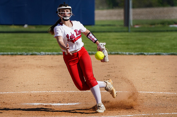 Lewis Cass Kings' Madison Dormer (30) throws a pitch during the first inning of a game between the Logansport Berries and Lewis Cass Kings on Wednesday, May 12, 2021 in Walton.
