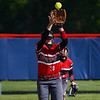 Logansport Berries infielder Abby Henderson (20) catches an infield pop up during the first inning of a game between the Logansport Berries and Lewis Cass Kings on Wednesday, May 12, 2021 in Walton.