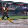 Pioneer Panthers pitcher Hailey Gotshall (15) hits the ball during the first inning of the semistate championship game between the Fairfield Falcons and Pioneer Panthers on Saturday, June 5, 2021 in Chalmers.