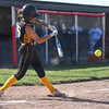 Pioneer Panthers pitcher Hailey Gotshall (15) hits an RBI single during the second inning of the semistate championship game between the Fairfield Falcons and Pioneer Panthers on Saturday, June 5, 2021 in Chalmers.
