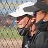Coach Gabby Thomas watches on during the second inning of the semistate championship game between the Fairfield Falcons and Pioneer Panthers on Saturday, June 5, 2021 in Chalmers.