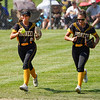 Pioneer Panthers outfielder Mackenzie Robinson (8) and outfielder Kylie Farris (2) walk off the field during the first inning of the Class 2A state championship between the Pioneer Panthers and Sullivan Golden Arrows on Saturday, June 12, 2021 in Greenwood.