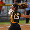 Pioneer Panthers pitcher Hailey Gotshall (15) throws the ball during the first inning of the regional championship between the Wheeler Bearcats and Pioneer Panthers on Tuesday, June 1, 2021 in Valparaiso.