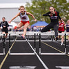 Lewis Cass' Liberty Scott and Taylor's Makala Pfefferkorn compete for first place in the 300 meter hurdles during the girls track and field sectional at Western High School on Tuesday, May 18, 2021 in Russiaville. Scott took first in the event.