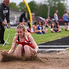 Logansport's Finley Hettinger competes in the long jump during the girls track and field sectional at Western High School on Tuesday, May 18, 2021 in Russiaville.