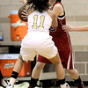 Fairview's Sarah Kaufman (back) tries to keep the ball from Monarch's Rebecca Richmond (front) during their basketball game at Monarch High School in Louisville, Colorado February 10, 2012. CAMERA/MARK LEFFINGWELL
