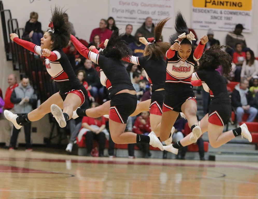 . The Elyria cheerleaders finish a routine. Amanda K. Rundle -- The Morning Journal