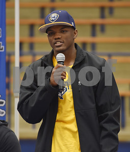 Da'Qualyon Kennedy announces his intent to attend East Texas Baptist University during the athletic signing ceremony held at John Tyler High School Wednesday Feb. 1, 2017.   (Sarah A. Miller/Tyler Morning Telegraph)