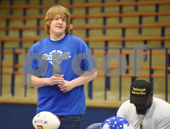 Jackson Bridges announces his intent to attend Cisco Junior College during the athletic signing ceremony held at John Tyler High School Wednesday Feb. 1, 2017.   (Sarah A. Miller/Tyler Morning Telegraph)
