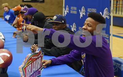 Kelton McGee smiles at friends in the audience during the athletic signing ceremony held at John Tyler High School Wednesday Feb. 1, 2017. McGee will attend Hardin-Simmons University.  (Sarah A. Miller/Tyler Morning Telegraph)