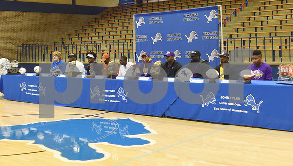 Football players attend the athletic signing ceremony held at John Tyler High School Wednesday Feb. 1, 2017.   (Sarah A. Miller/Tyler Morning Telegraph)